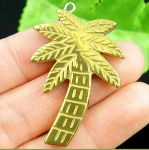 hematite palm tree golden pendent w necklace